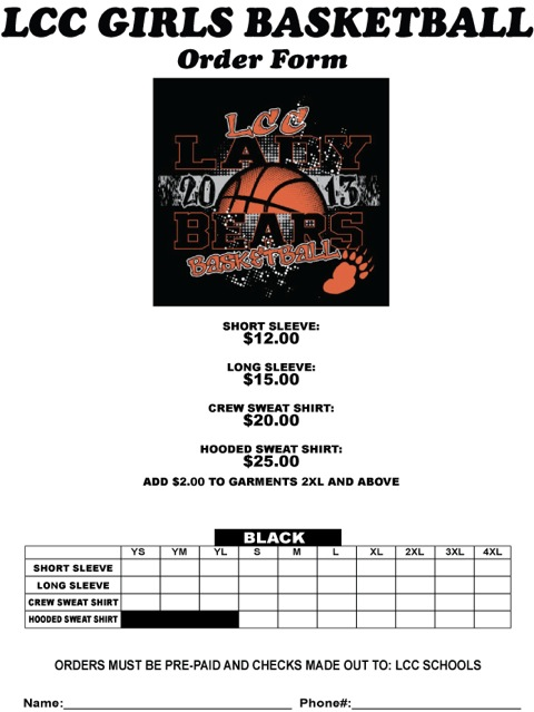 Laurel Concord Coleridge Public Schools - Girls Basketball Shirt Order
